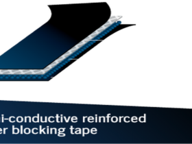 Semi-conductive water blocking reinforced tape